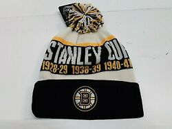 Boston Bruins Nhl Stanley Cup Champions Cuffed With Pom Knit Hat