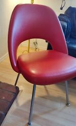 Mid Century Knoll Original 1950and039s Saarinen Executive Chair Vintage Red Leather