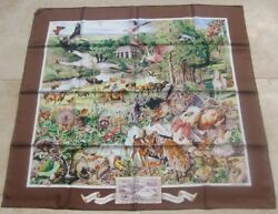 Hermes 100 Silk Scarf Limited Edition Madison Avenue Kermit Oliver Brown New