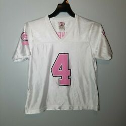 Brett Favre Jersey Womens Pink And White Short Sleeve Green Bay Packers Size L
