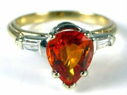 Antique 2.7ct Padparadscha Sapphire Diamond Engagement Ring 14k Y Gold Video