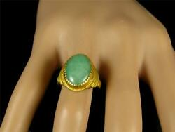 Antique Vintage Natural 6.2ct Oval Jadeite Jade 24k Solid Yellow Gold Ring Video