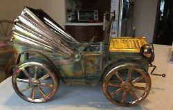 Vintage, Tin Copper, And Brass Antique Car Music Box, Happy Days Are Here Again