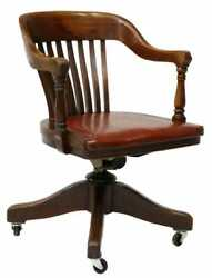 Antique Chair Desk Office Leather Uphol. American Johnson Chair Co.1900s