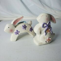 Ks Collection Shabby Chick Style Ceramic Rabbit Figurines / Easter Decorations