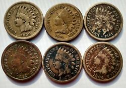 Indian Head Cent Copper Nickel Full Set 1859 1860 1861 1862 1863 1864 6 Coin Lot