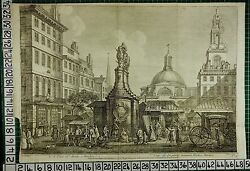 1753 Dated Large Antique London Print View Of Stocks Market Trade