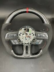 15-19 Ford Mustang  Full Carbon Fiber Steering Wheel Leather Suede