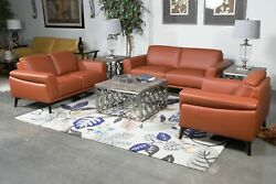 Terracotta Italian Leather Padded Arms Loveseat Chair 3pc Living Room Set