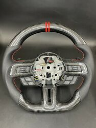 15-19 Ford Mustang Full Carbon Fiber Steering Wheel Perforated Leather