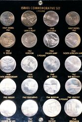 Set Of 20 Israel Scarce Proof Coins Including Silver In Custom Sealed Case