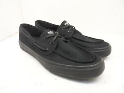 Sperry Top-sider Menand039s Bahama 2-eye Casual Boat Shoes Black-canvas Size 12m