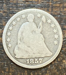1857 Seated Silver Half Dime Collector Us Type Coin