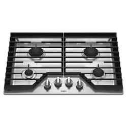Whirlpool 4-burner 30and039and039 Gas Cooktop With Ez-2-lift Hinged Cast-iron Grates