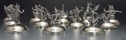 Lovely Siam Thailand Sterling Silver Figural Place Card Holders 12