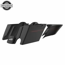 Denim Black Extended Stretch Saddlebags With Pinstripes Fits 14+ Harley Touring