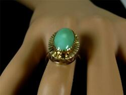 Antique 1900and039s Art Nouveau 7.0ct Natural Green Jadeite Jade Ring 10k Yellow Gold