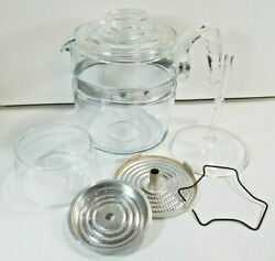 Vintage Pyrex Flameware Glass 6 Cup Coffee Pot Percolator 7756-b Complete Clean