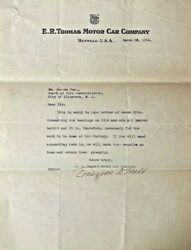Original E.r.thomas Motor Car Company Letter To Fire Commissioner About Car 1914