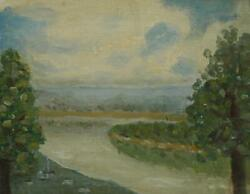 Antique 1944 Oil On Board A Bend In The Ohio River By Artist Charles Meurer