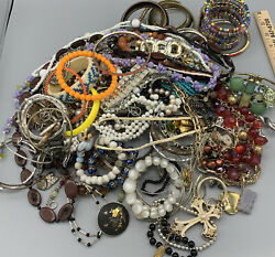 Huge Vintage To Now Jewelry Lot 5 Lbs Rings Bracelets Necklaces Untested Metals