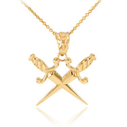 14k Sollid Yellow Gold Double Crossed Daggers Charm Pendant Necklace