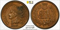 1866 Pcgs Ms62 Bn Indian Cent Rpd Fs-301 S-2 - Secure Shield - Scarce