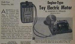 Toy Electric Motor 1956 Howto Build Plans Steam Engine Lookalike