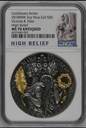 Ngc Ms70 Victoria And Nike Strong And Beautiful Goddess 2oz Silver Coin 5 2018