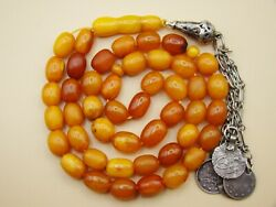 Old Real Antique Rare Natural Amber Necklace / Rosary / Prayer Beads / 34 Grams