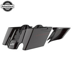 2 Into 1 Blackened Cayenne Extended Saddlebags Pinstripes Fits 14+ Harley