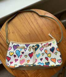 90s BAGUETTE BAG PURSE WHITE HEARTS EARLY 2000s Y2K CYBER PUNK IGIRL RAVE CLUB $29.99