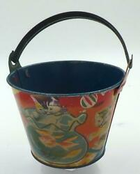 1950's Vintage Japanese Tin Sand Pail-cats Looking In Goldfish Bowl