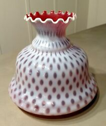 7 Cranberry Iridescent Honeycomb Glass Lamp Shade Opalescent Small Coin Dot