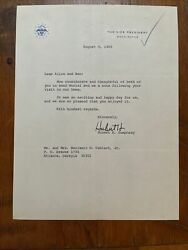 Hubert Humphrey Signed Letter Autographed Auto Psa Vice President Stationary