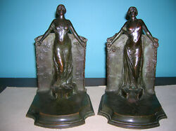 Antique Lady Columbia Statue Of Liberty Bookends Gorham Founders, Bronze, 8 Lbs