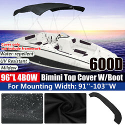 Boat Pontoon 4 Bow 91-103 W 8ft. Bimini Top Replacement Canvas W Boot No Frame
