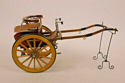 A Vintage Wooden Hand Made Treen And Metal Model Of A Pony Trap Horse Buggy