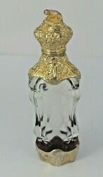 Silver Gilt French Rock Crystal Perfume Bottle With Charming Dog Terminal C1870