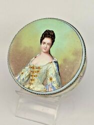 Stunning Portrait And Pastoral Scene Enamel Table Box Silver Hallmarked Fittings