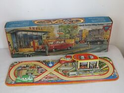 Vintage 1960 Technofix Windup Cars And Shell Gas Station Tin Litho Toy Orig. Box