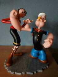Extremely Rare Popeye Olive Checking Popeyeand039s Muscles Figurine Statue