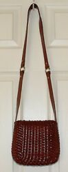 Cole Haan Woven Mahogany Brown leather Crossbody Shoulder Bag Purse Italy $39.99