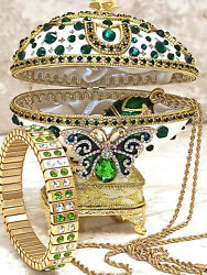 Butterfly Faberge Egg Emerald Trinket Set Russia Ornaments Musical Gift 24k Gold