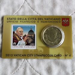 Vatican City 2013 Brilliant Uncirculated 50 Cents - Sealed Coin And Stamp Pack 4