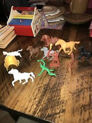 Vintage 1950-60's Tim Mee Unmarked Plastic Mounted Cowboy Indian With Horses Lot