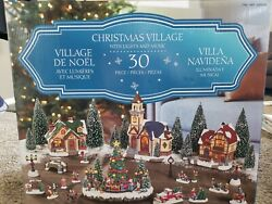 30-piece Christmas Village With Lighted Gazebo And Music. Used Only Once.