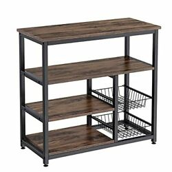 4 Tier Coffee Bar Table With 2 Wire Baskets Microwave Stand Vintage Utility