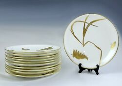 11 English Mintons 1878 Gilt Porcelain Butterfly And Fern Plates
