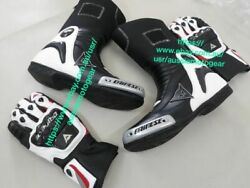 Motogp Shoes And Gloves Motorbike Boot Leather Boots Motorcycle Bikers Biking Gear